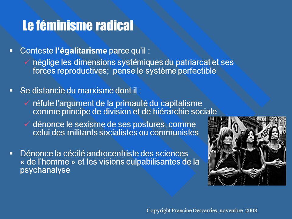 Le féminisme radical Conteste l'égalitarisme parce qu'il :