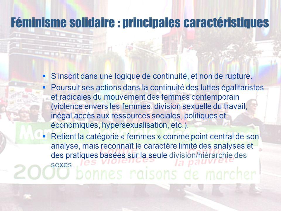Féminisme solidaire : principales caractéristiques