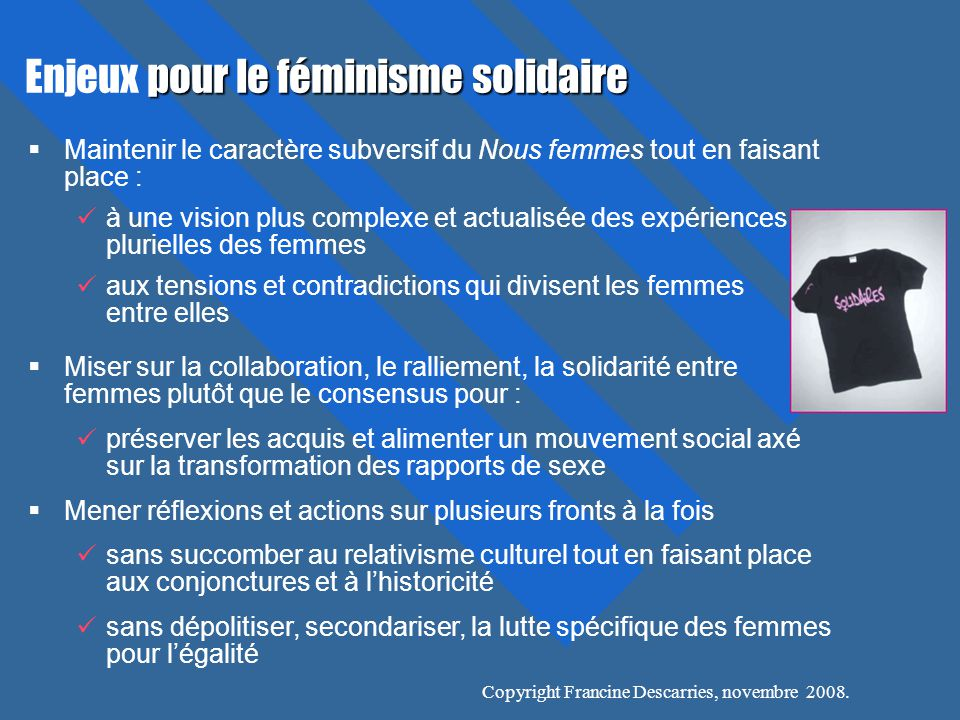 Enjeux pour le féminisme solidaire