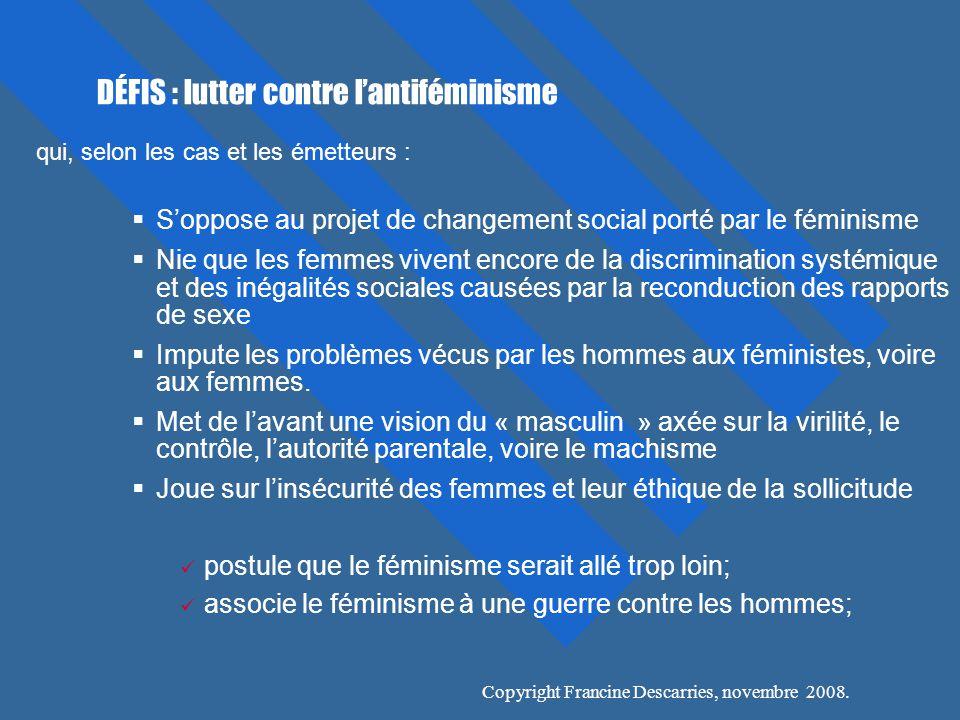 DÉFIS : lutter contre l'antiféminisme