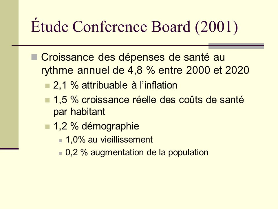 Étude Conference Board (2001)