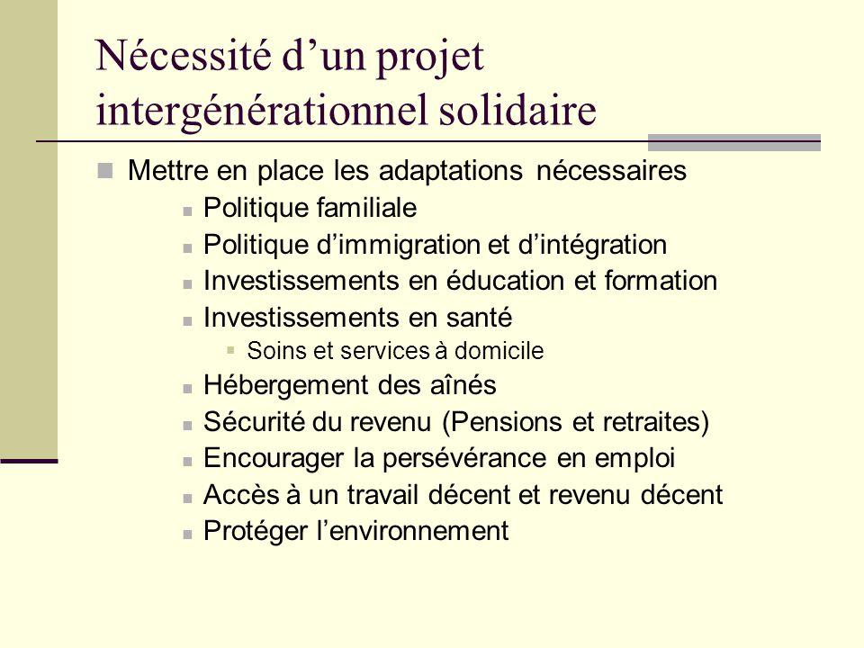 Nécessité d'un projet intergénérationnel solidaire