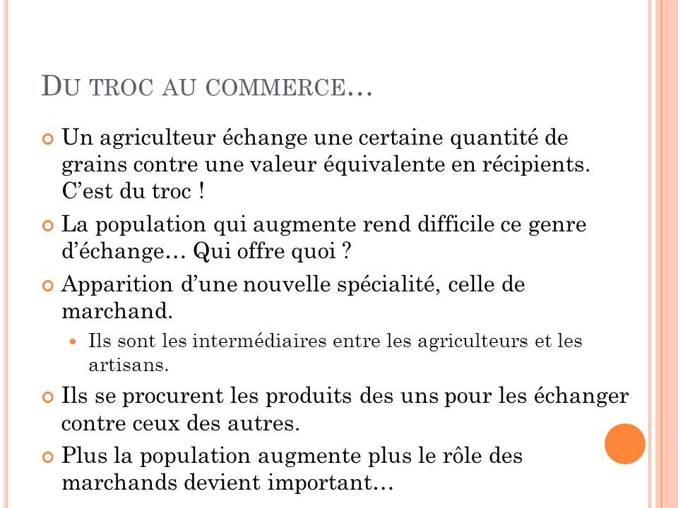 Du troc au commerce… Un agriculteur échange une certaine quantité de grains contre une valeur équivalente en récipients. C'est du troc !