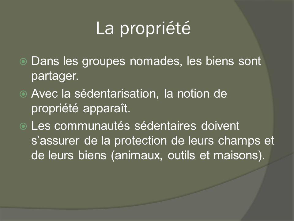 La propriété Dans les groupes nomades, les biens sont partager.
