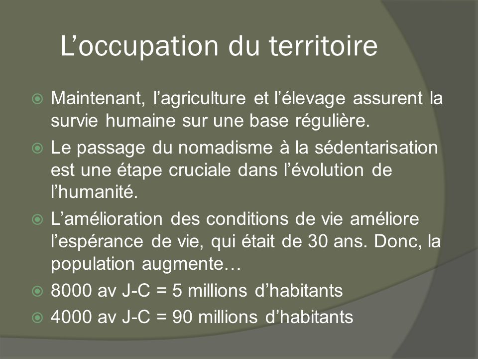 L'occupation du territoire