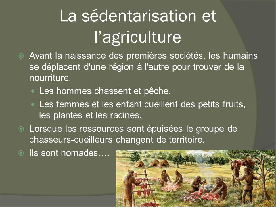 La sédentarisation et l'agriculture