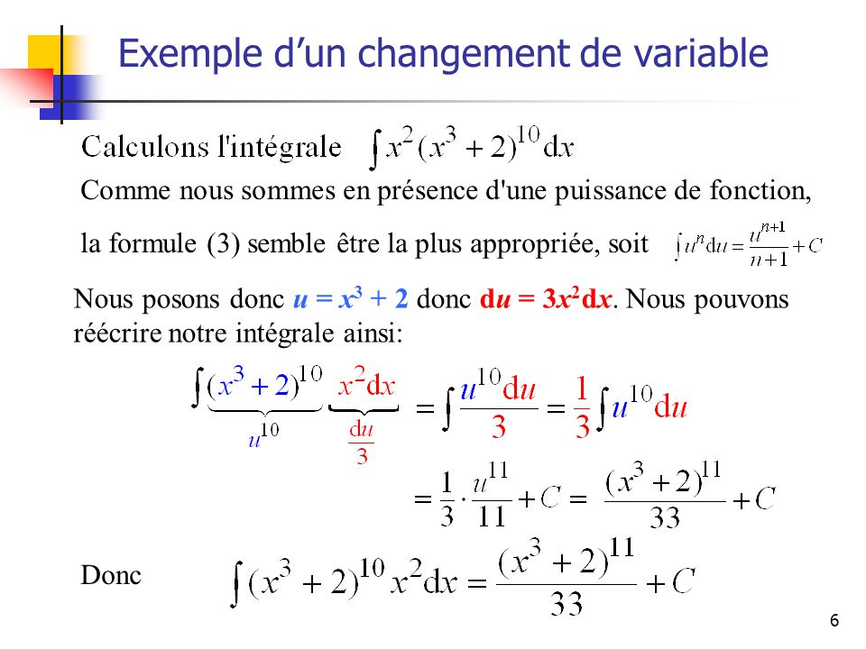 Exemple d'un changement de variable