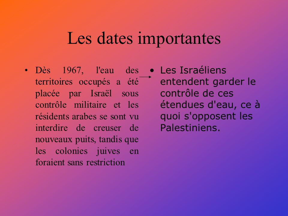 Les dates importantes