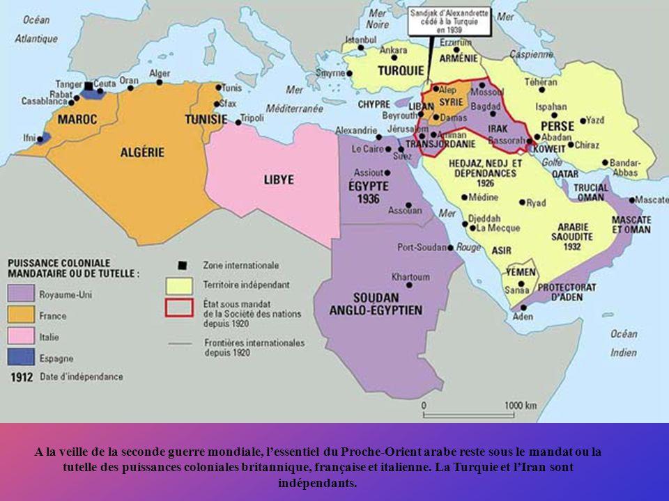 A la veille de la seconde guerre mondiale, l'essentiel du Proche-Orient arabe reste sous le mandat ou la tutelle des puissances coloniales britannique, française et italienne.