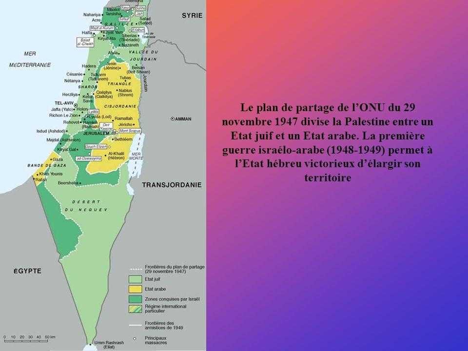 Le plan de partage de l'ONU du 29 novembre 1947 divise la Palestine entre un Etat juif et un Etat arabe.