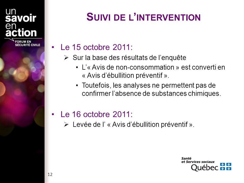 Suivi de l'intervention