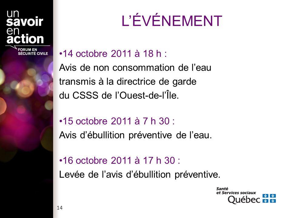 L'ÉVÉNEMENT 14 octobre 2011 à 18 h : Avis de non consommation de l'eau