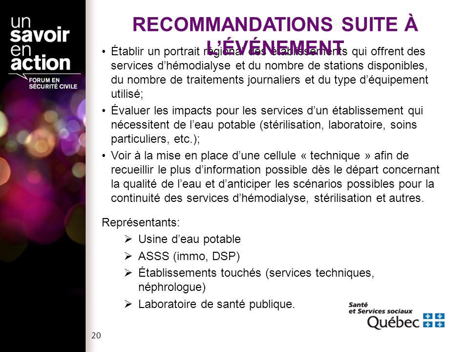 RECOMMANDATIONS SUITE À L'ÉVÉNEMENT