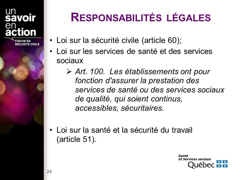 Responsabilités légales