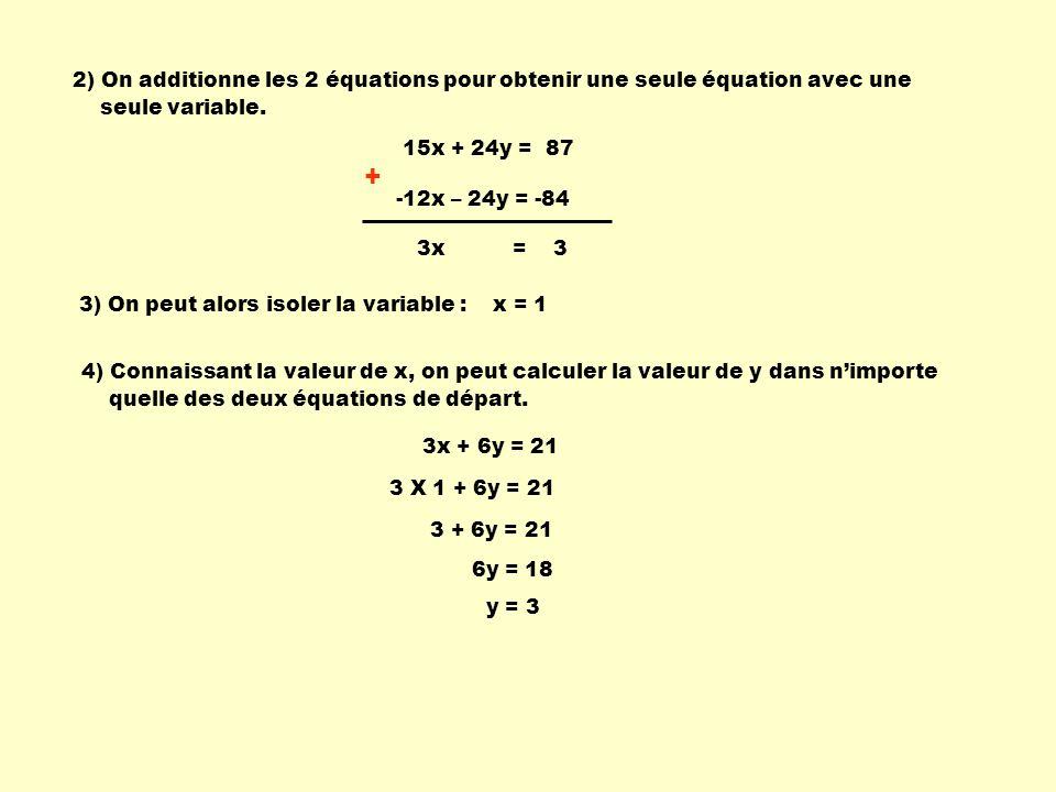 2) On additionne les 2 équations pour obtenir une seule équation avec une
