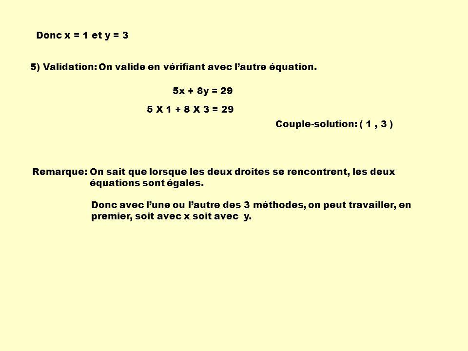 Donc x = 1 et y = 3 5) Validation: On valide en vérifiant avec l'autre équation. 5x + 8y = 29. 5 X 1 + 8 X 3 = 29.