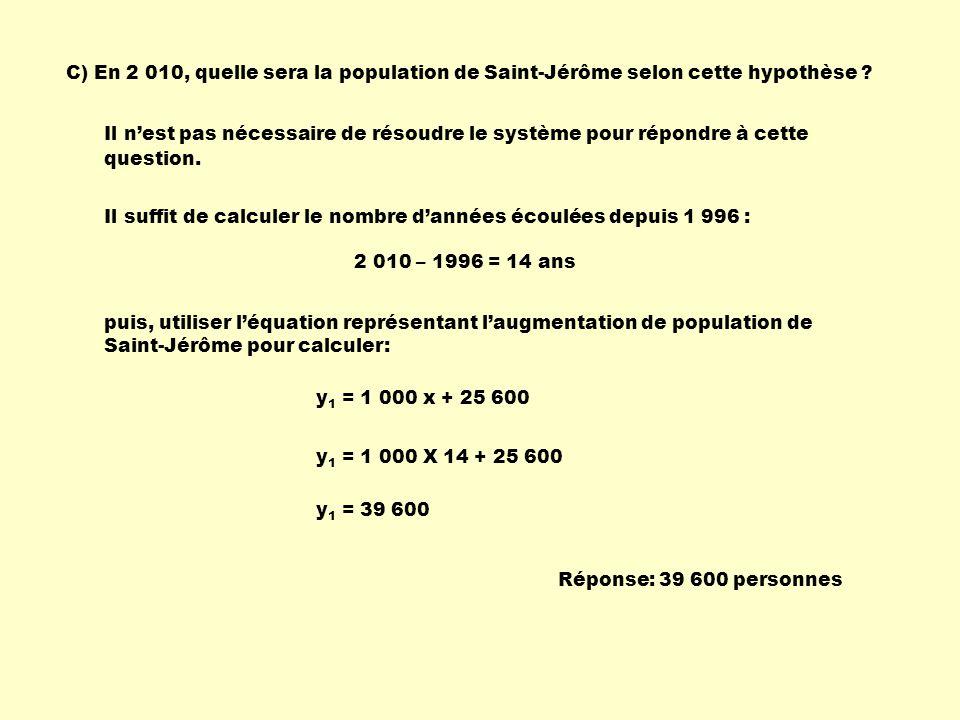C) En 2 010, quelle sera la population de Saint-Jérôme selon cette hypothèse