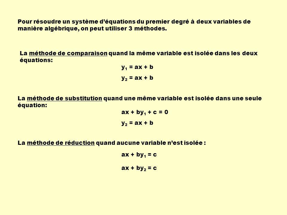Pour résoudre un système d'équations du premier degré à deux variables de manière algébrique, on peut utiliser 3 méthodes.
