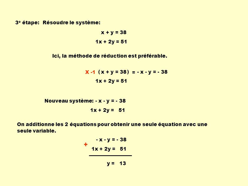 + 3e étape: Résoudre le système: x + y = 38 1x + 2y = 51