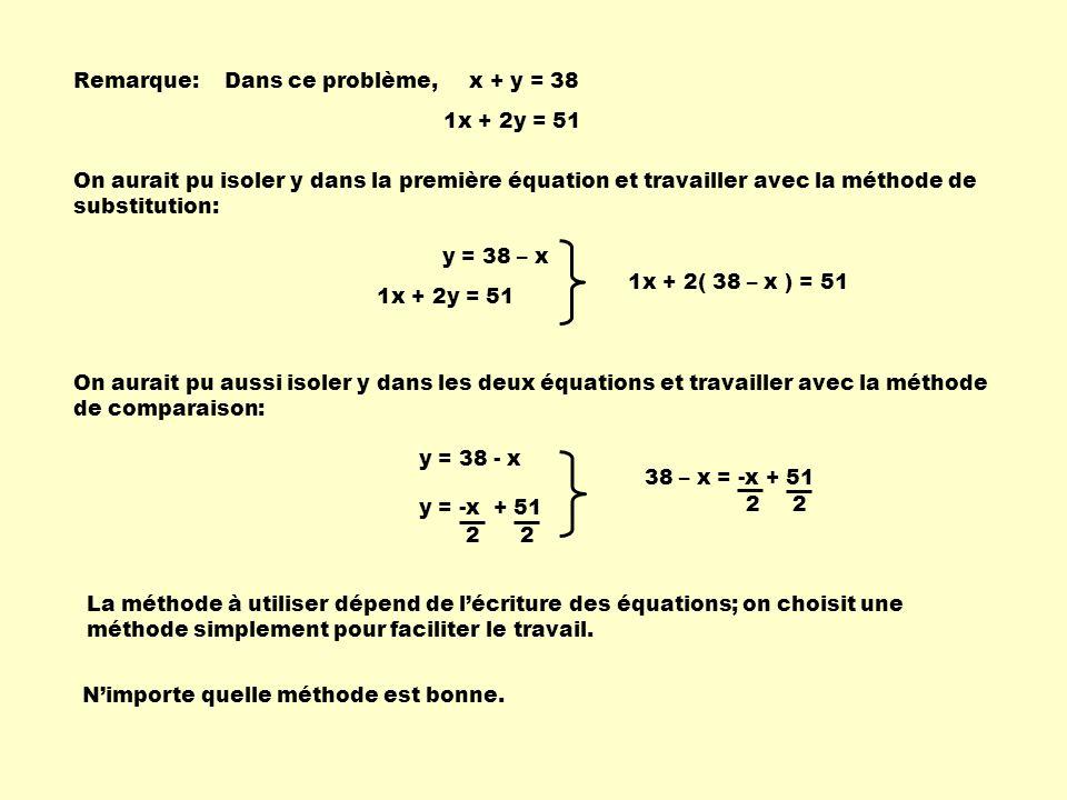 Remarque: Dans ce problème, x + y = 38. 1x + 2y = 51.