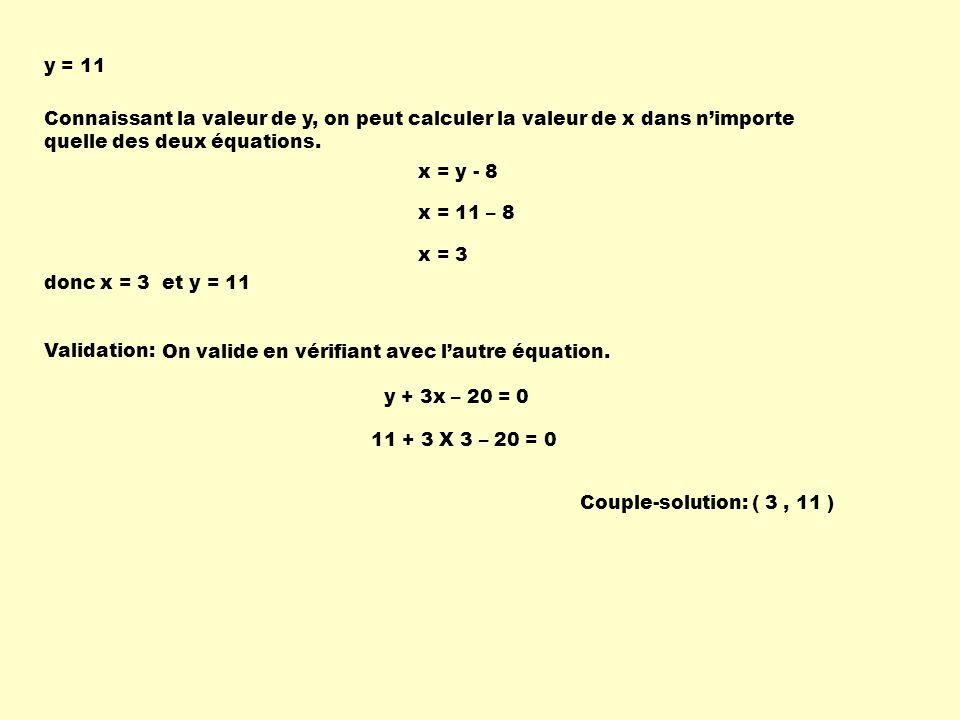 y = 11 Connaissant la valeur de y, on peut calculer la valeur de x dans n'importe quelle des deux équations.