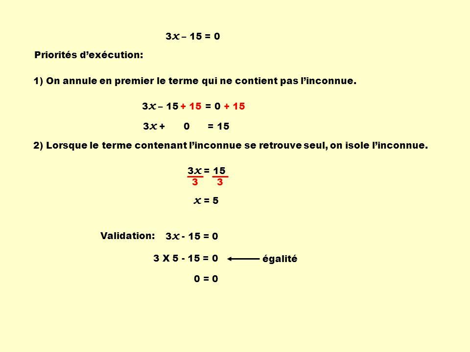 x = 5 3x – 15 = 0 Priorités d'exécution: