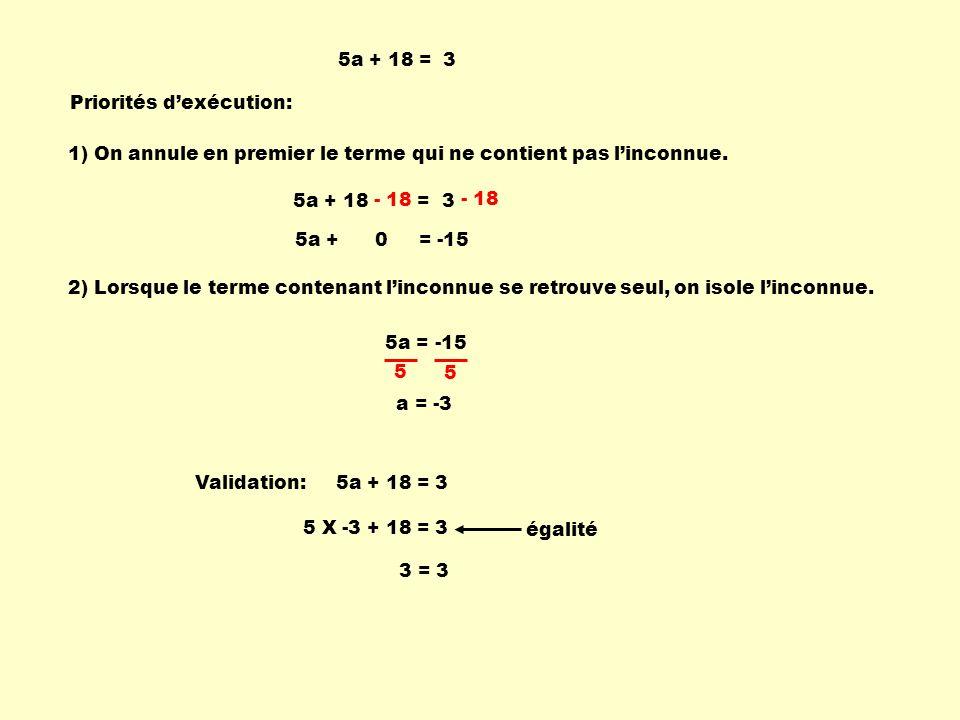 5a + 18 = 3 Priorités d'exécution: 1) On annule en premier le terme qui ne contient pas l'inconnue.