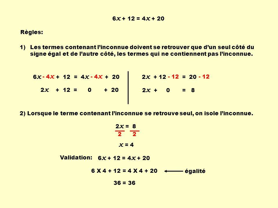 6x + 12 = 4x + 20 Règles: Les termes contenant l'inconnue doivent se retrouver que d'un seul côté du signe égal.