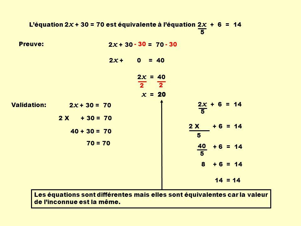 L'équation 2x + 30 = 70 est équivalente à l'équation