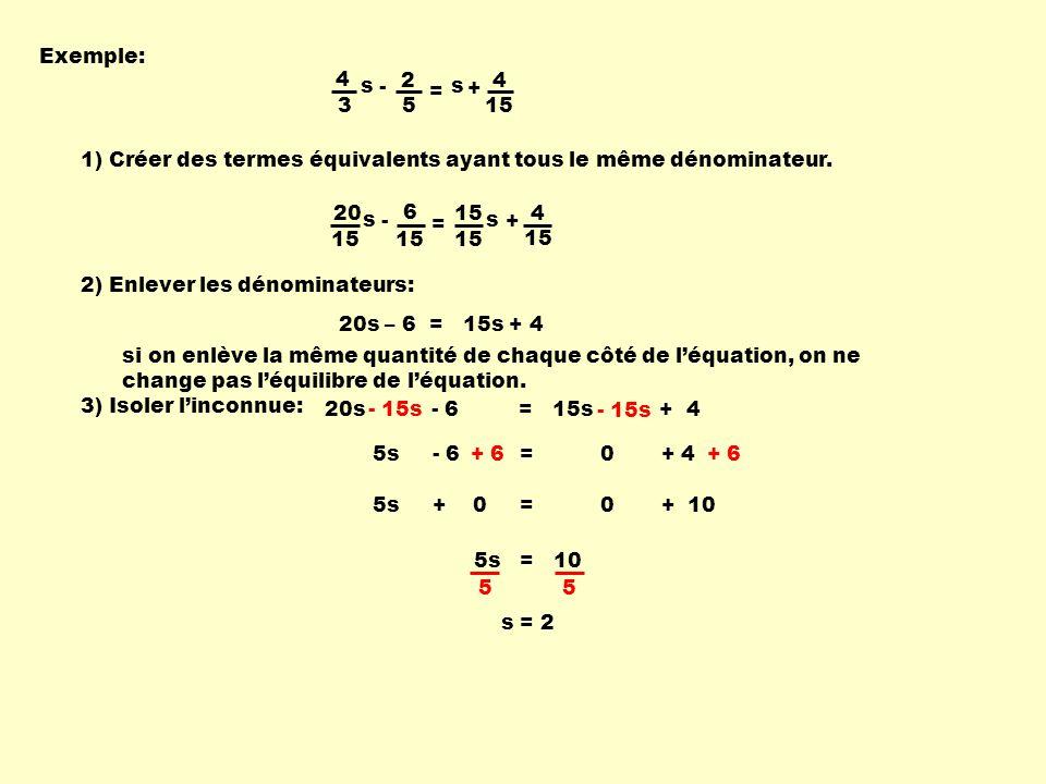 Exemple: 4. 3. s. - 2. 5. = + 15. 1) Créer des termes équivalents ayant tous le même dénominateur.