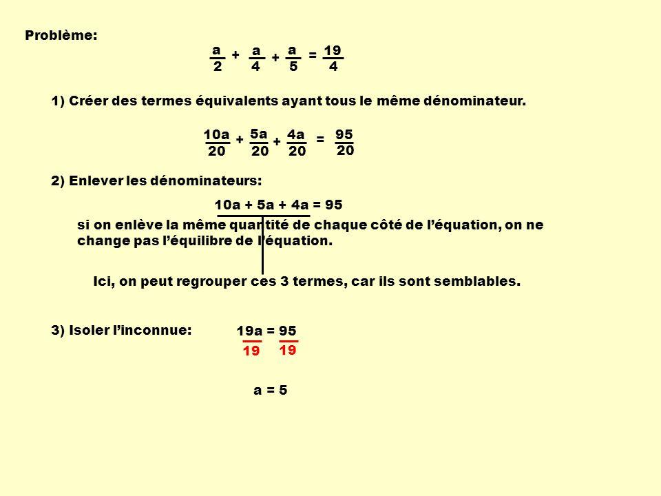 Problème: a. 2. + 4. = 19. 5. 1) Créer des termes équivalents ayant tous le même dénominateur.