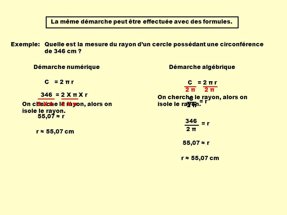 La même démarche peut être effectuée avec des formules.