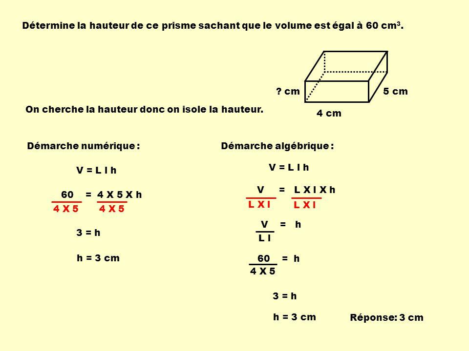 Détermine la hauteur de ce prisme sachant que le volume est égal à 60 cm3.