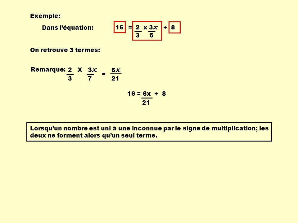 Exemple: 16 = 2 x 3x + 8. 3. 5. Dans l'équation: On retrouve 3 termes: Remarque: 2 X 3x.