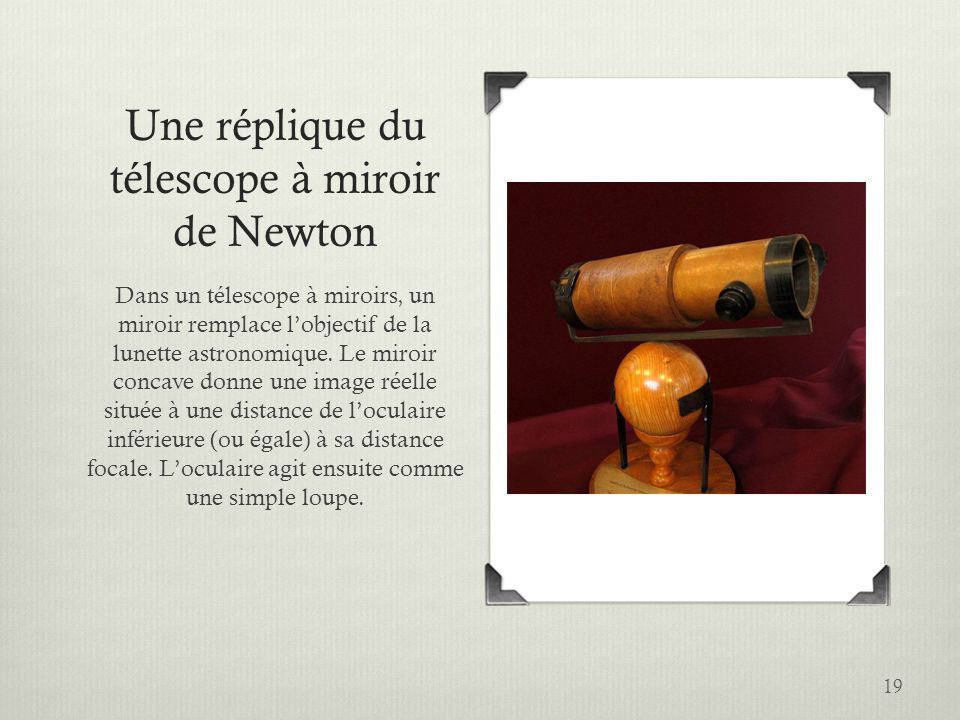Les instruments d optique ppt video online t l charger for Miroir de telescope