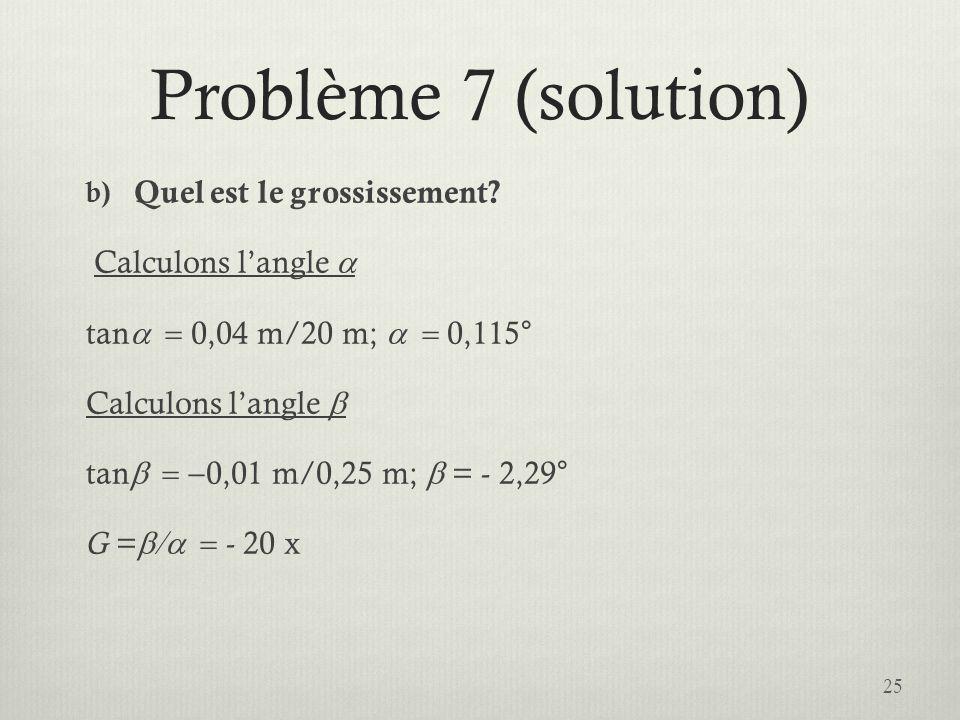 Problème 7 (solution) Quel est le grossissement Calculons l'angle a