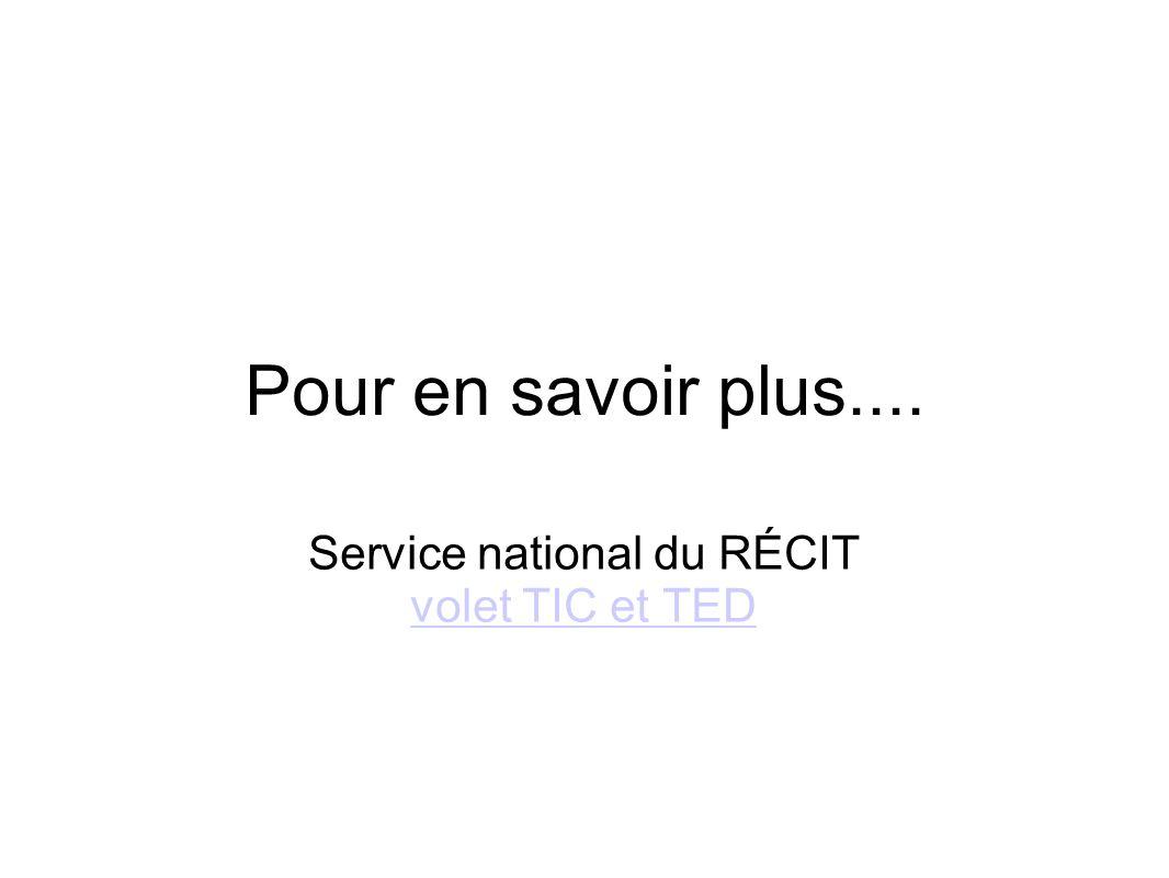 Service national du RÉCIT volet TIC et TED