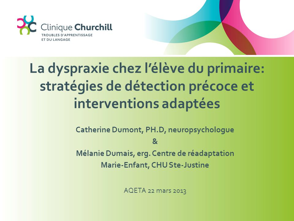 La dyspraxie chez l'élève du primaire: stratégies de détection précoce et interventions adaptées