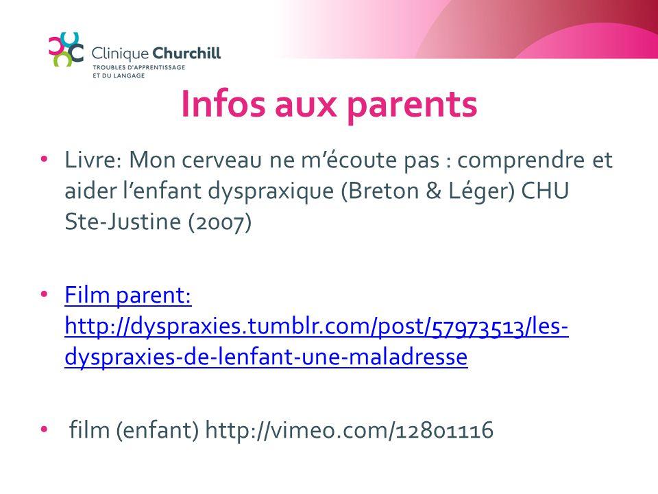 Infos aux parents Livre: Mon cerveau ne m'écoute pas : comprendre et aider l'enfant dyspraxique (Breton & Léger) CHU Ste-Justine (2007)