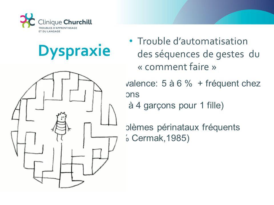 Dyspraxie Trouble d'automatisation des séquences de gestes du « comment faire » Prévalence: 5 à 6 % + fréquent chez garçons.