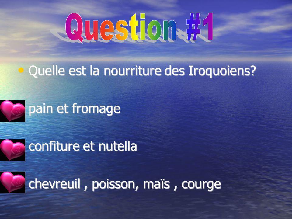 Question #1 Quelle est la nourriture des Iroquoiens pain et fromage