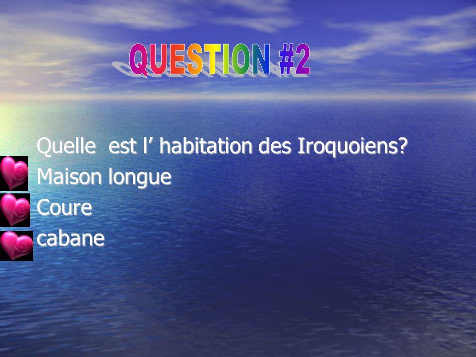 QUESTION #2 Quelle est l' habitation des Iroquoiens Maison longue