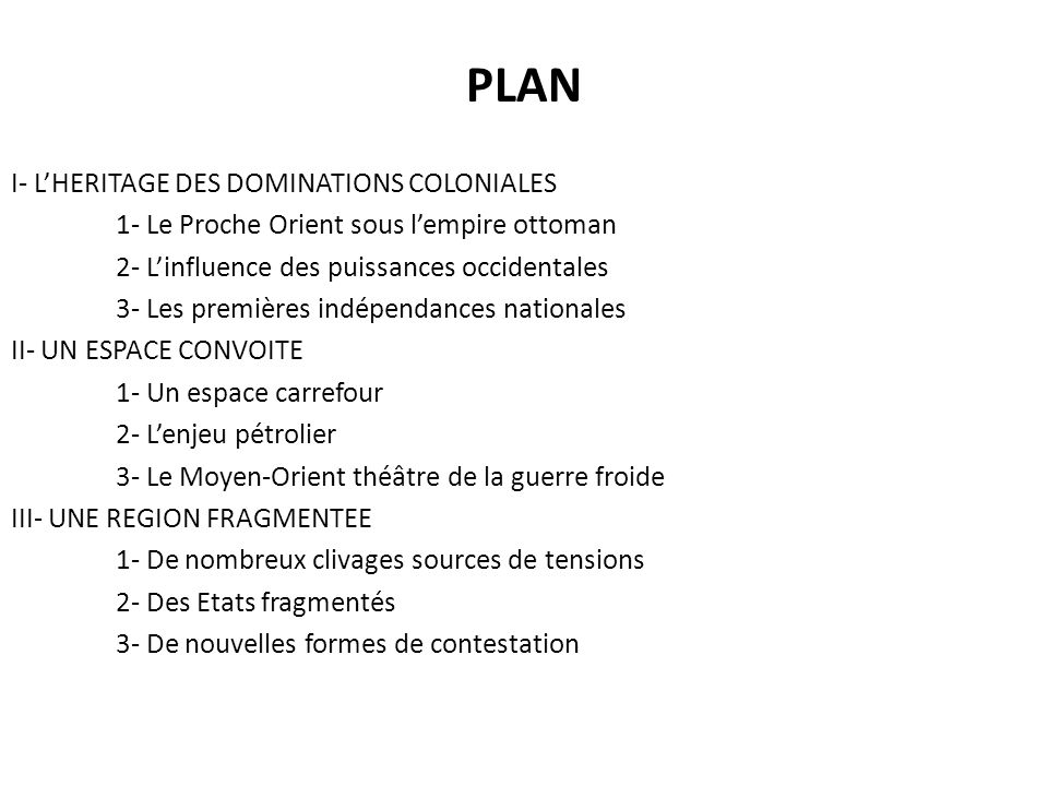 PLAN I- L'HERITAGE DES DOMINATIONS COLONIALES