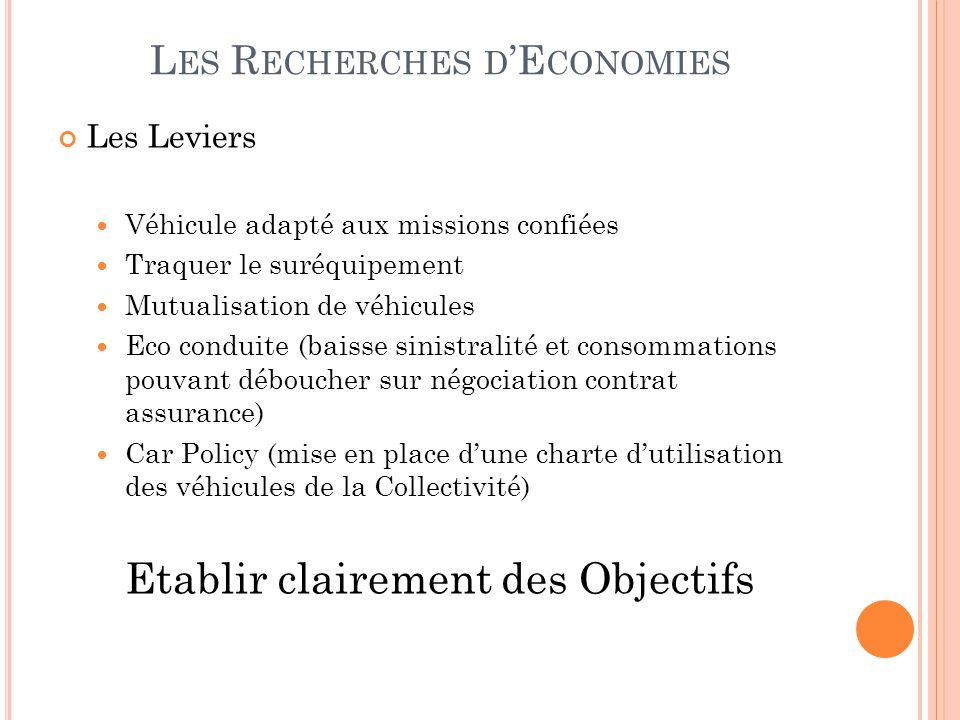 Les Recherches d'Economies