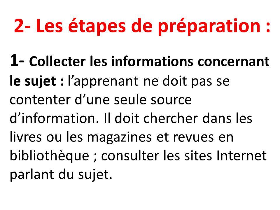 2- Les étapes de préparation :