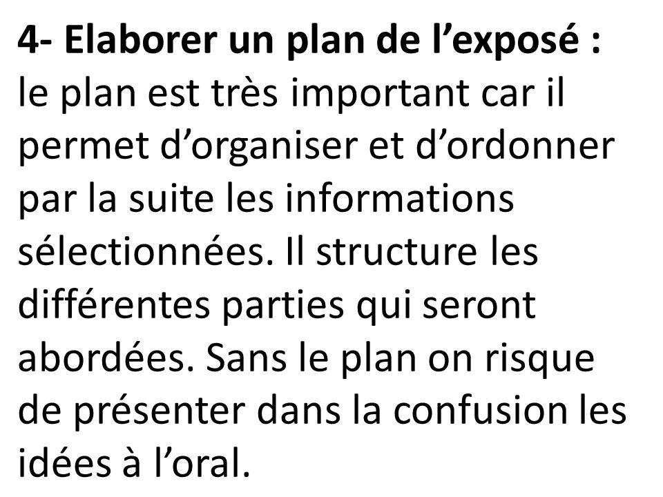 4- Elaborer un plan de l'exposé : le plan est très important car il permet d'organiser et d'ordonner par la suite les informations sélectionnées.