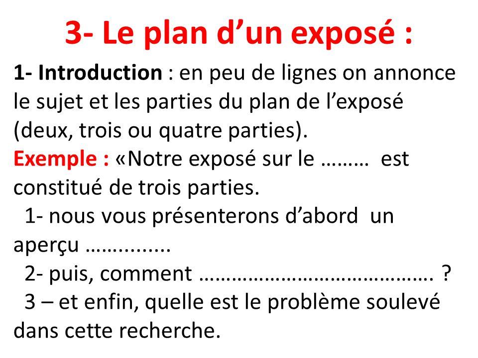 3- Le plan d'un exposé :