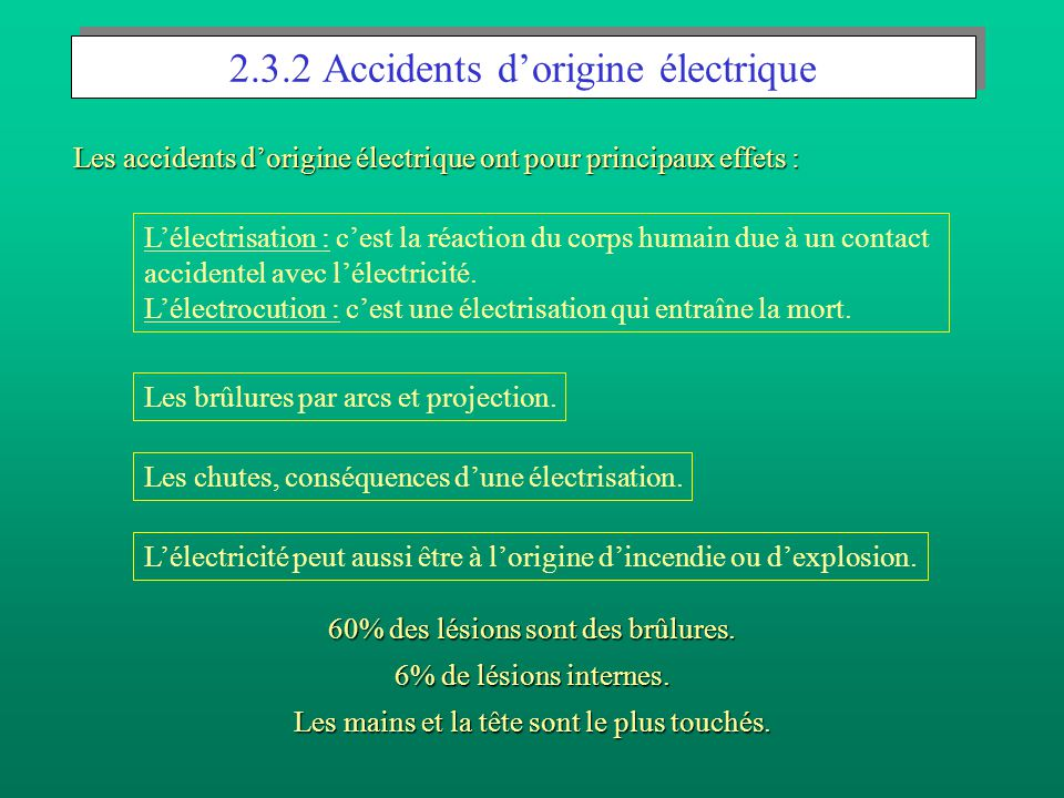 2.3.2 Accidents d'origine électrique