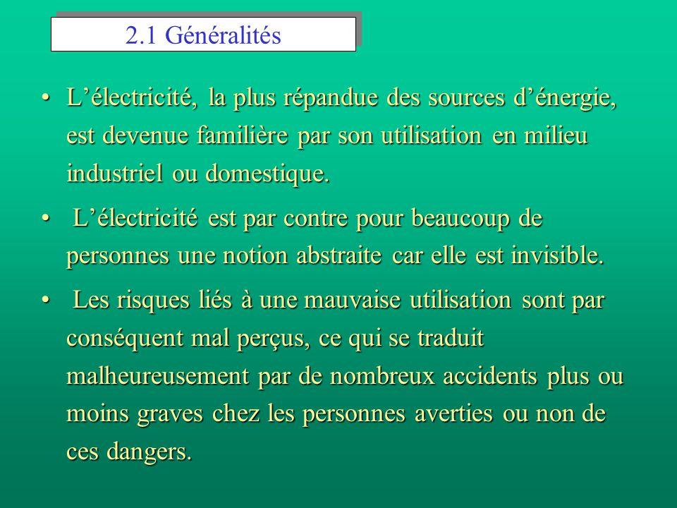 2.1 Généralités L'électricité, la plus répandue des sources d'énergie, est devenue familière par son utilisation en milieu industriel ou domestique.