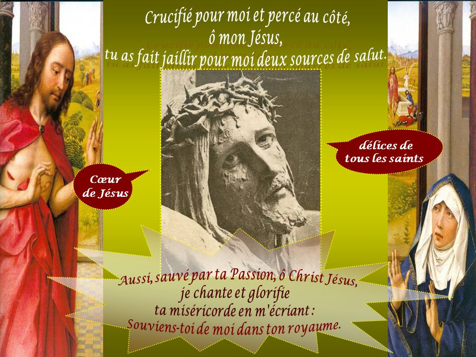 Crucifié pour moi et percé au côté, ô mon Jésus,
